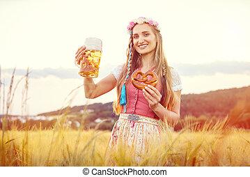 donna, birra, bavarese, felice, cibo, estate, tradizionale