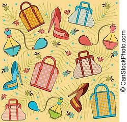 donna, borsa, cartone animato, shoes.