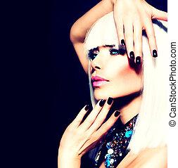 donna, capelli, bellezza, sopra, nero, unghia, bianco