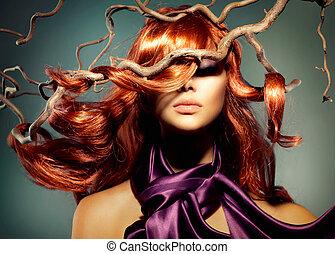 donna, capelli foggiano, modello, lungo, ritratto, riccio, rosso