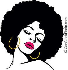 donna, capelli, hippie, arte, afro, pop
