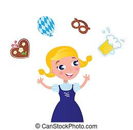 donna, capelli, octoberfest, carino, costume., vettore, biondo, cartone animato, illustration.