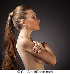 donna, capelli, portrait., marrone, lungo, bello