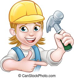 donna, carattere, carpentiere, femmina, cartone animato
