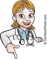 donna, carattere, cartone animato, indicare, dottore
