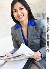 donna, carino, affari asiatici