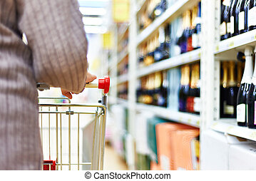 donna, carrello, supermercato