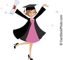 donna, cartone animato, laureato