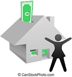 donna, casa, simbolo, lavoro, risparmi, reddito, casa, celebra, o