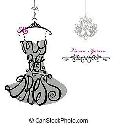 donna, chandelier., sagoma, dress., meglio, silhouette., parole, vestire