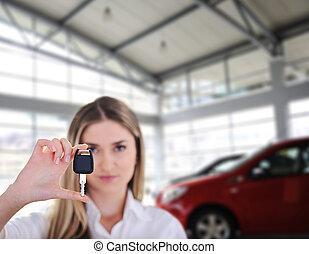 donna, chiavi, automobile, giovane, presa a terra, nuovo