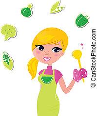 donna, cibo, isolato, -, preparare, verde, sano, cottura, v, bianco