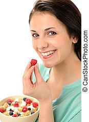 donna, ciotola, cereale, felice
