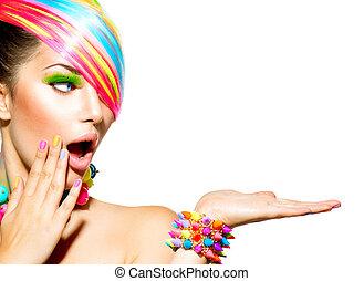 donna, colorito, capelli, bellezza, trucco, unghia, accessori