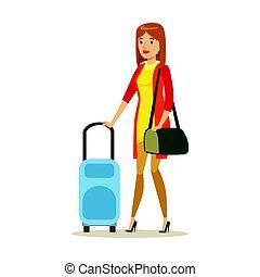 donna, colorito, carattere, giovane, illustrazione, vettore, viaggiare, suitcase., cartone animato