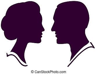 donna, coppia, faccia, profilo, vettore, femmina, maschio, uomo