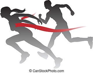 donna, corsa, vincente