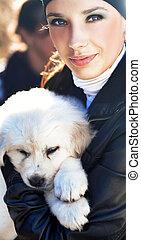 donna, cucciolo, presa a terra, giovane