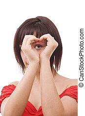 donna, cuore, esposizione