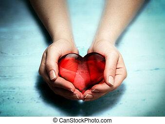 donna, cuore, mani, rosso, vetro