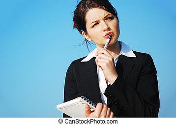 donna d'affari, blocco note
