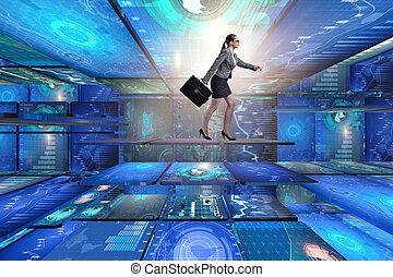 donna d'affari, camminare, concetto, amministrazione, dati