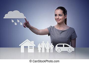 donna d'affari, concetto, assicurazione, giovane