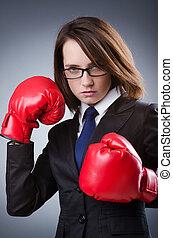 donna d'affari, concetto, pugilato, giovane