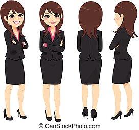 donna d'affari, differente, vista