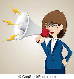donna d'affari, grido, megafono, cartone animato, fuori