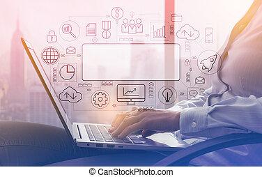 donna d'affari, laptop, finestra, lavorativo, prossimo