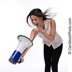 donna d'affari, megafono, lei stessa, gridare