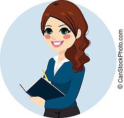 donna d'affari, nota scrittura