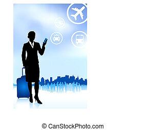 donna d'affari, orizzonte, viaggiatore, fondo, bagaglio