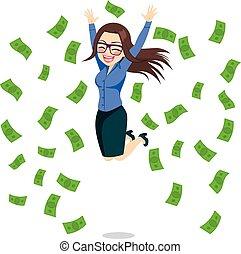 donna d'affari, saltare, felice, soldi