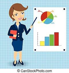 donna d'affari, statistico, grafici