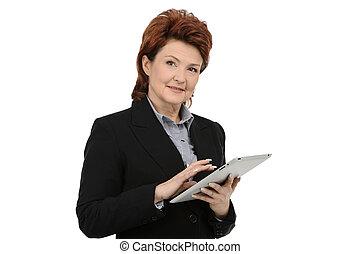 donna d'affari, usando, tavoletta, digitale