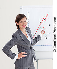 donna d'affari, vendite, segnalazione, sorridente, figure