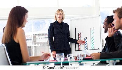 donna d'affari, vendite, segnalazione, squadra, figure, lei
