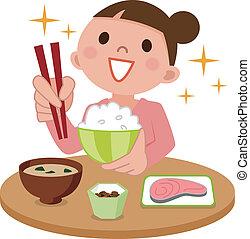 donna, delizioso, pasto mangia