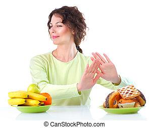 donna, diet., scegliere, frutte, giovane, fra, bello, dolci