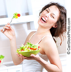 donna, diet., verdura, giovane, mangiare, insalata, sano