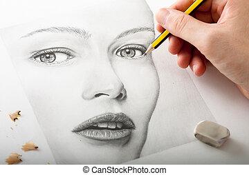 donna, disegno, mano, faccia
