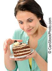 donna, dolce, giovane, affamato, appetitoso, torta