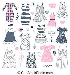 donna, doodle., illustrazione, mano, vettore, disegnato, freehand, moda, vestiti