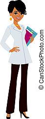 donna, dottore, il portare, cappotto, bianco