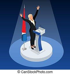 donna, elections., vincitore, elezioni, francia, 2017, presidenziale