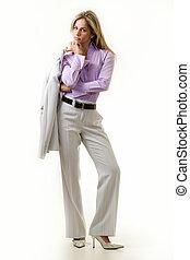 donna, elegante, affari