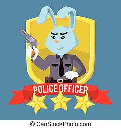 donna, emblema, scudo, ufficiale, coniglio, polizia