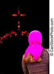 donna, entrare, chiesa